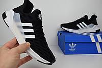 Мужские кроссовки Adidas Climacool черные с белыми полосками Топ Реплика Хорошего качества, фото 1
