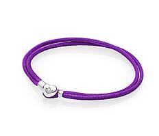 Текстильный фиолетовый браслет Пандора