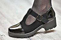 Туфли женские весенние с ремешком на тракторной подошве черные искусственная замша кожа лак (Код: Ш1060)