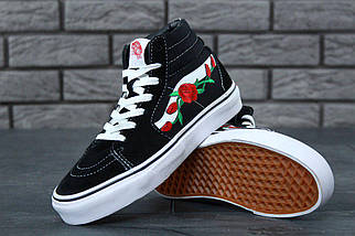 Женские кеды Vans Old Skool high CANVAS SK8-HI Roses, vans old school, ванс олд скул, фото 3
