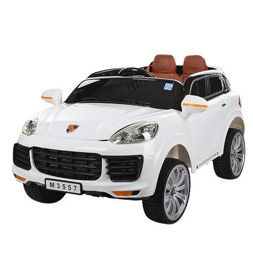 Детский электромобиль Porsche M 3557 EBLR-1: 7 км/ч, кожа, EVA, 2.4G - БЕЛЫЙ- купить оптом