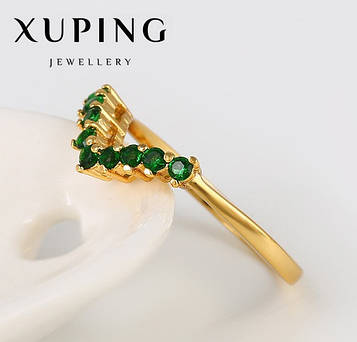 "XUPING Кольцо Позолота 24к ""Виктория"" с зелеными камнями Размер 16,17,18"
