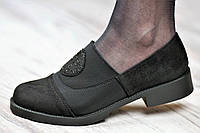 Туфли женские весенние мокасины на резинке черные искусственная замша текстиль (Код: Б1057)
