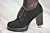 Туфли женские весна ботильоны черные искусственная замша платформа широкий каблук (Код: Т1059)