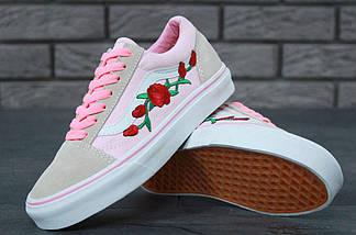 Кеды Vans Old Skool Pink Roses, vans old school, ванс олд скул, кеды венс, фото 3