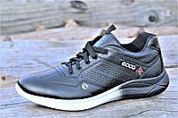 Мужские кроссовки экко черные Ecco реплика, натуральная кожа, черно белая подошва (Код: Б1072)