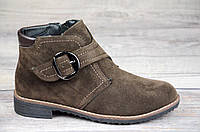 Женские ботинки весенние полусапожки коричневые ботильоны на низком ходу искусственная замша (Код: Т1067)