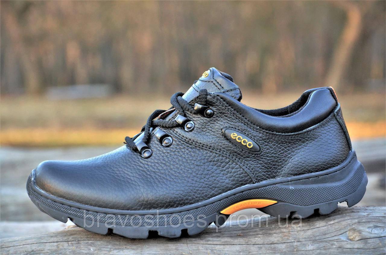 Мужские черные кроссовки экко, полуботинки спортивные Ecco реплика,  натуральная кожа (Код  Б1077 44e027a01ed
