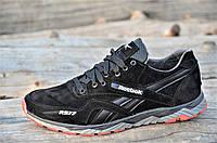 Мужские кроссовки черные Reebok реплика, натуральная кожа замша (Код: Т1073)