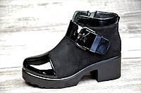 Ботинки женские весна ботильоны черные на платформе с широким каблуком искусственная замша лак (Код: Ш1063)