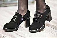 Туфли женские весна ботильоны черные искусственная замша платформа широкий каблук (Код: Б1059а)