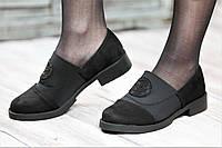 Туфли женские весенние мокасины на резинке черные искусственная замша текстиль (Код: Т1057а)