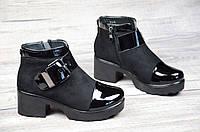 Ботинки женские весна ботильоны черные на платформе с широким каблуком искусственная замша лак (Код: Т1063а)