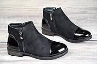 Женские ботинки весна полусапожки черные ботильоны на низком ходу искусственная замша кожа лак (Код: Т1065а)