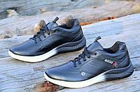 Мужские кроссовки экко черные Ecco реплика, натуральная кожа, черно белая подошва (Код: Б1072а)