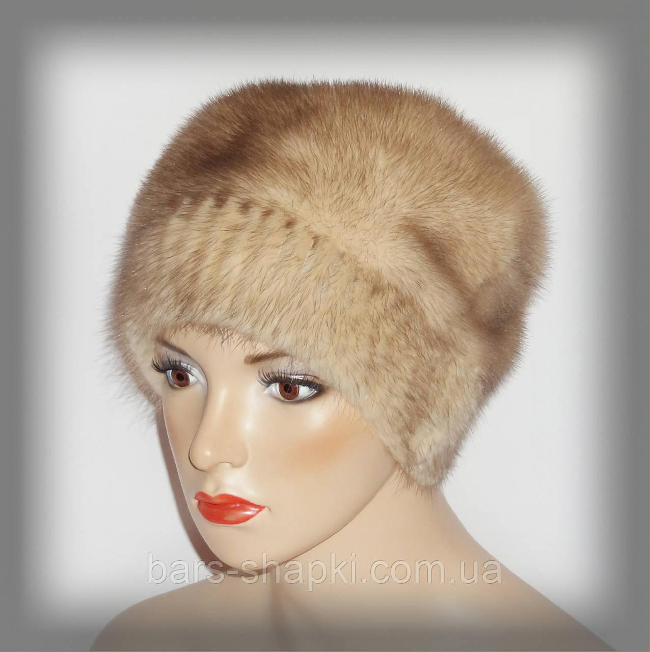 Женская шапка из светлой норки