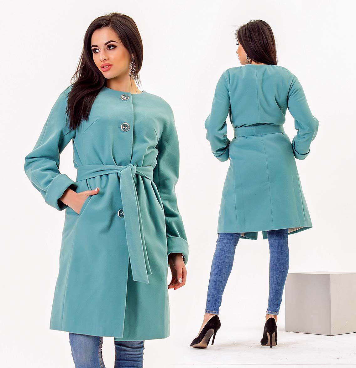 """Женское пальто на синтепоне до больших размеров 467 """"Кашемир Реглан Пояс"""" в расцветках"""