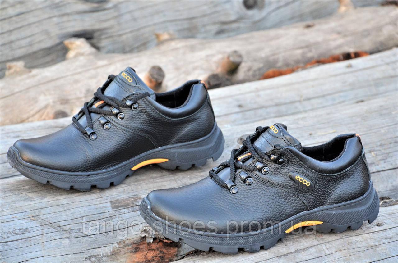 Мужские черные кроссовки полуботинки Ecco реплика, натуральная кожа (Код   Т1077а). Только b0b42f26d41