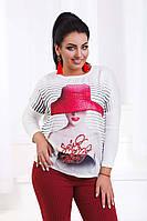 """Стильная женская туника со стразами в больших размерах 4713 """"Red Hat"""" в расцветках"""
