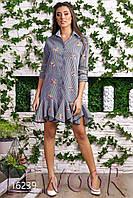 Платье-рубашка из коттона с вышивкой