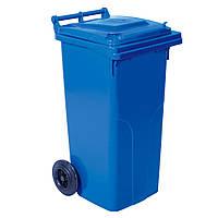 Бак для мусора на колесах  120 л. черный синий, Плоская, Украина