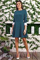 Нарядное платье в горох с рукавом плиссе