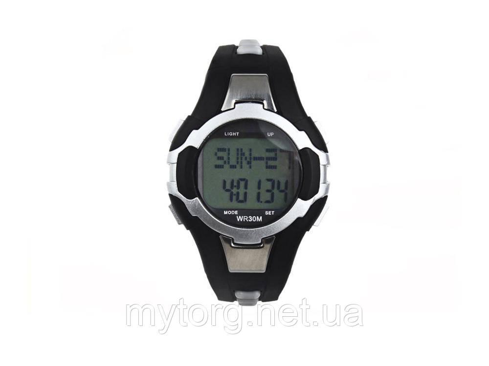 Товар имеет дефект Водонепроницаемые часы с пульсометром и шагометром WR30M Уценка №241