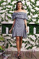 Летнее коттоновое платье-сарафан с открытыми плечами