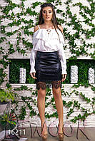 Женственная юбка из эко-кожи с кружевом Черный, Размер 48 (XL)