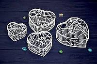 """Набор декоративных шкатулок """"Сердце"""", в наборе 4 шт., металл, цвет белый"""