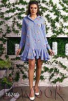 Оригинальное платье-рубашка с воланами из коттона жатка