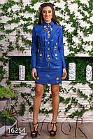 Джинсовое платье на резинке с вышивкой