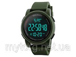 Спортивные водонепроницаемые часы Skmei 1257 с LED подсветкой  Зеленый