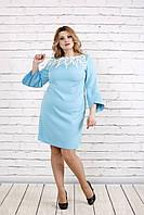 Платье с прошвой нежного голубого цвета    0760-2