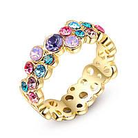 Женское кольцо с разноцветными кристаллами в позолоте Elegance X 362735 (16.0 17.0 размеры в наличии)