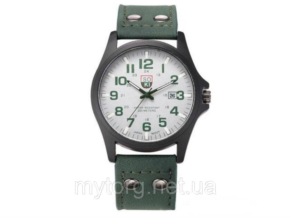 Мужские армейские часы Хinew Luxuary Кожаный ремень Синий, белый