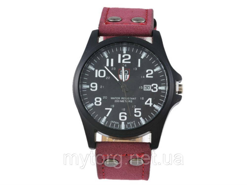 Мужские армейские часы Хinew Luxuary Кожаный ремень Красный, черный