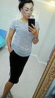 Белая легкая летняя женская футболка из штапеля с мелким рисунком. Арт-6277/8