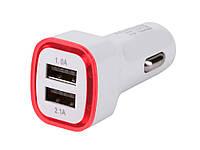 Универсальное автомобильное зарядное устройство USB 2.1A с LED подсветкой  Красный