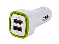 Универсальное автомобильное зарядное устройство USB 2.1A с LED подсветкой  Светло зеленый, фото 1