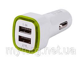 Универсальное автомобильное зарядное устройство USB 2.1A с LED подсветкой  Светло зеленый