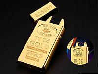 Зажигалка USB импульсная Lighters-JL688 Золотой слиток  Золотой