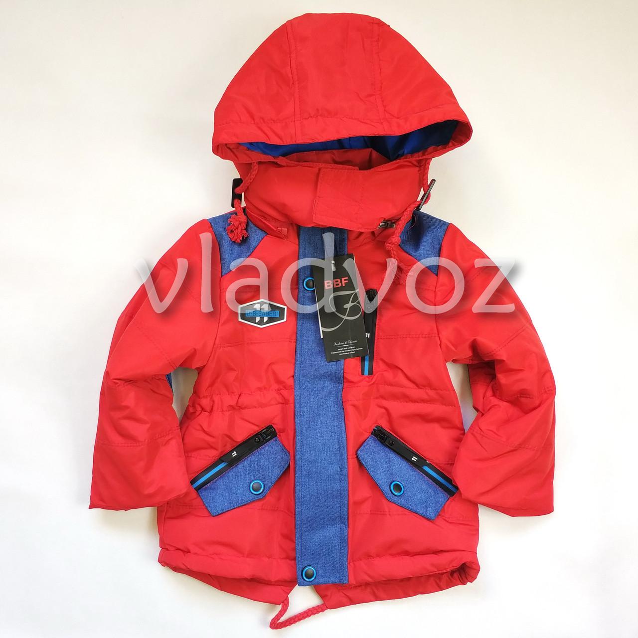 Детская демисезонная куртка на мальчика красная 2-3 года