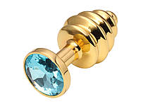 Золотая рельефная анальная пробка с кристаллом 2,7 см х 7 см Голубой