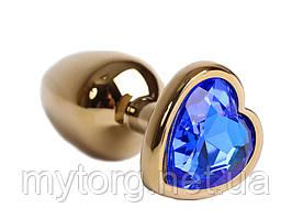 Золотая анальная пробка с кристаллом Сердечко 2,5 см х 7 см Синий