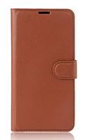 Кожаный чехол-книжка для Lenovo k6 note / k6 plus коричневый
