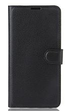 Кожаный чехол-книжка для Lenovo k6 note / k6 plus черный