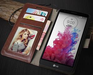 Кожаный чехол книжка для LG G3 mini белый, фото 2
