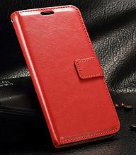 Кожаный чехол-книжка для Samsung galaxy j3 2017 j330 красный