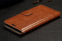 Кожаный чехол-книжка для Samsung galaxy j2 (2016) j210 коричневый, фото 3